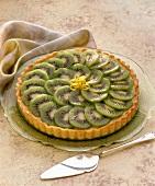 Kiwi tart on cake plate