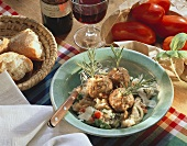 Meatballs with pine nuts and vegetable risotto