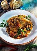 Umbrian rabbit with vegetables & honey & red wine sauce