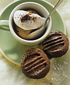 Mocha ice cream & cream in cappuccino cup, espresso biscuits