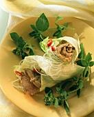Dried Beef mit Glasnudeln Eissalat eingewickelt