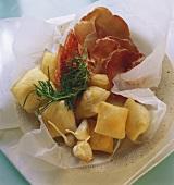 Friciule (dough balls with salami & ham, Italy)