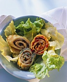 Vegetable pancakes on lettuce