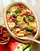 Broccoli bake with smoked pork rib and potatoes
