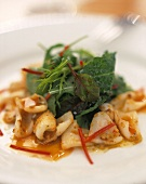 Cuttlefish with salad and Thai spices