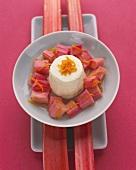Yoghurt bavarois on baked rhubarb