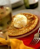Banana & coconut pancakes with vanilla ice cream & honey