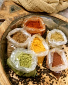 Various spices in bags