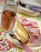 Sponge cake with rose mousse and sugared rose petals