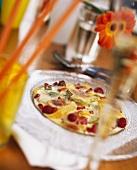Fruit zabaione brulee on glass plate