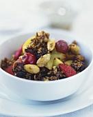 Fruit muesli with grains and raisins