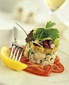Crab salad on tomatoes