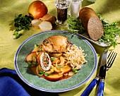 Stuffed turkey roll with noodles & nectarine & onion sauce