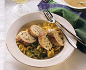Turkey roll stuffed with vegetables & ricotta, with noodles