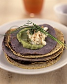 Corn tortillas and bean cakes with guacamole