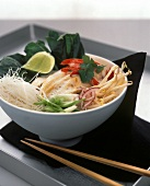 Chicken laksa with rice noodles and sprouts