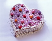 Pink love-heart with coconut flakes & heart-shaped sweets