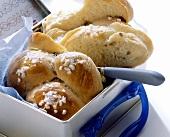 Raisin bread plait in tin box