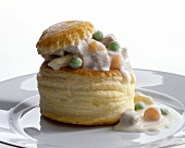 Pastry shell filled with veal and vegetables