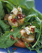 Spicy salad with pilgrim scallops and rocket