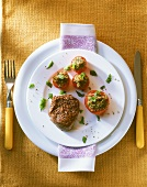 Fillet steak with stuffed tomatoes