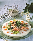 Egg wreath with salmon and vegetables
