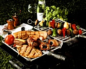 Grill with meat, skewers and vegetables
