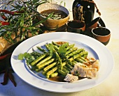 Asparagus with coriander & ginger sauce & fish fillet from Asia