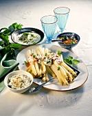 Asparagus with four sauces