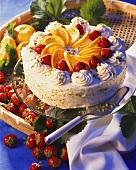 Sangria and strawberry gateau