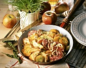 Peppered potatoes (Fried potatoes with pepper & black pudding)