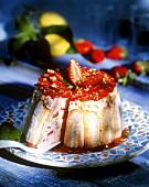 Strawberry charlotte, cut into