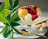 Peach melba (Poached peach with ice cream & raspberry sauce)