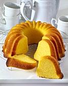 Saffron gugelhupf, slices cut