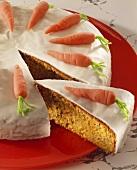 Iced carrot cake, a slice cut (Switzerland)