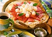 Melon and coconut tart
