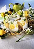 Lemon sponge gateau with cream