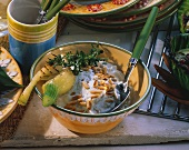 Herb sauce with pine nuts for grilled food