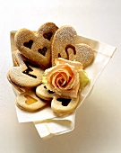 Biscuits with letters or hearts for a wedding