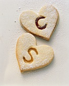 Heart-shaped biscuits with letters for wedding