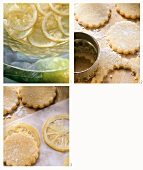 Making biscuits with candied lemon slices