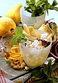 Guavas with cream cheese dip and roasted almonds
