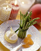 Thai asparagus with trout caviare and lemon cream