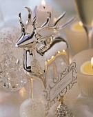 Silver stags as place cards for Christmas
