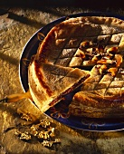 Chocolate pie with puff pastry