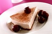 A piece of cherry mascarpone cheesecake