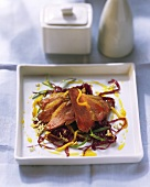 Barbery duck breast on mango and red cabbage salad