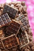 Crispy chocolate bars on a slab of nut chocolate