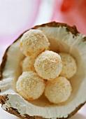 Coconut truffle in a coconut half