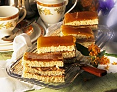 Viennese Dobos slices with cream filling & caramel icing
